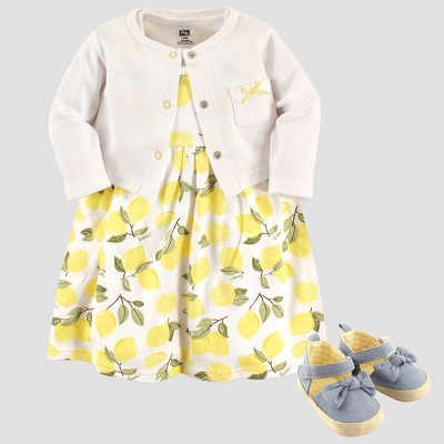 Hudson Baby Girls' Cardigan & Dress Set - Yellow 3-6M