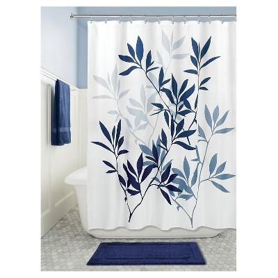 Leaves Shower Curtain Navy - iDESIGN