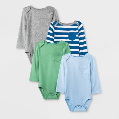 Baby Boys' 4pk Long Sleeve Bodysuits - Cloud Island™ 0-3M