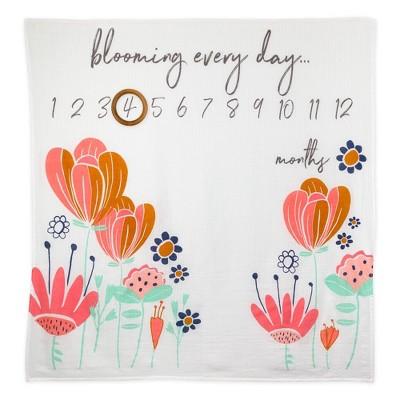 Honest Baby Organic Cotton Muslin Giftable Milestone Blanket - Flower Power