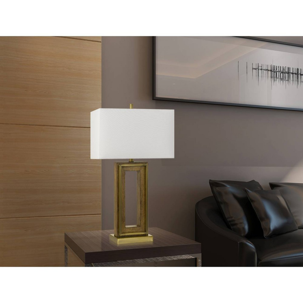 Image of 150W 3 Way Couvin Pine Wood/Metal Table Lamp Antique Brass (Lamp Only) - Cal Lighting