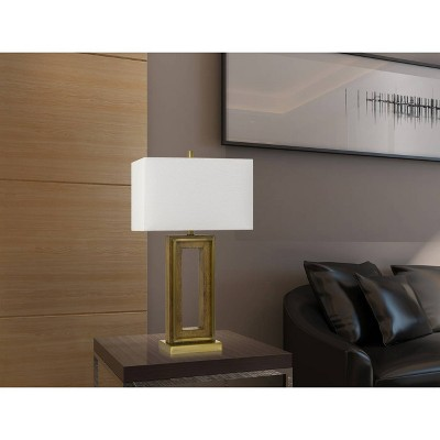 Superbe 150W 3 Way Couvin Pine Wood/Metal Table Lamp Antique Brass (Lamp Only)    Cal Lighting : Target