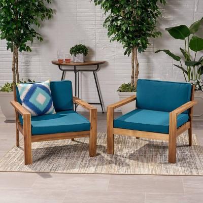 Santa Ana 2pk Acacia Wood Club Accent Chairs Teak - Christopher Knight Home