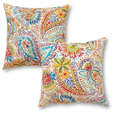 Set of 2 Painted Paisley Outdoor Square Throw Pillows - Kensington Garden