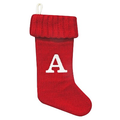 Knit Monogram Christmas Stocking Red A - Wondershop™