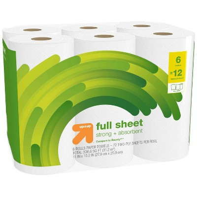 Full Sheet White Paper Towels - 6pk - up & up™