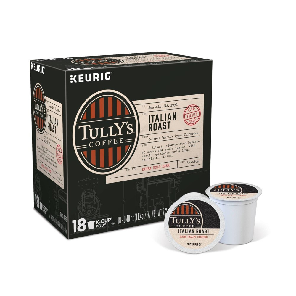Tully's Coffee Italian Roast Dark Roast Coffee - Keurig K-Cup Pods - 18ct