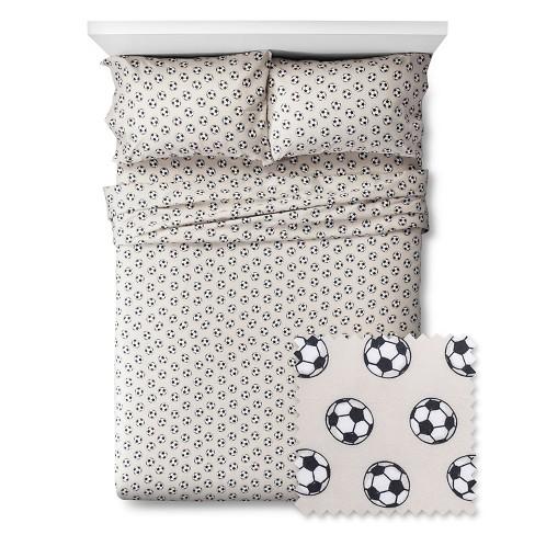 Queen Soccer Sheet Set Gray/Black - Pillowfort™ - image 1 of 1