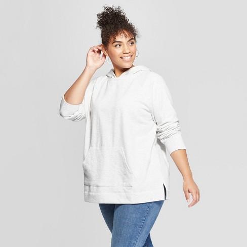 72c794ae1f7be Women s Plus Size Hoodie Sweatshirt - Ava   Viv™ Light Heather Gray ...