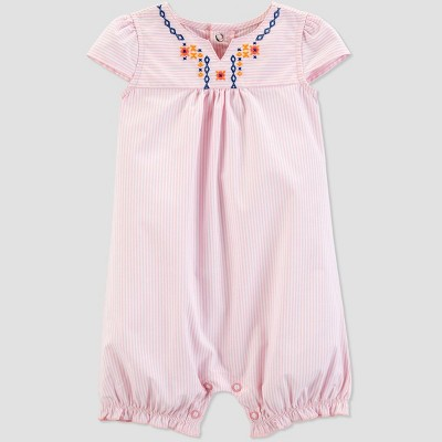 Baby Girls' Striped Embroidered Romper - Just One You® made by carter's Pink 3M