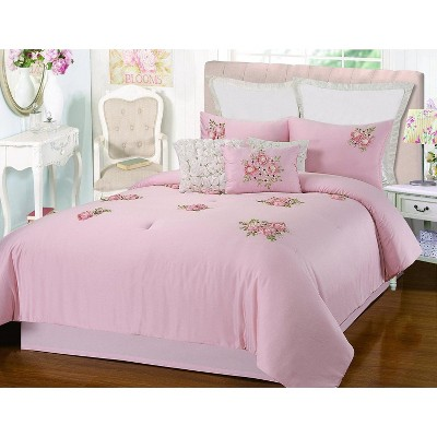 Chic Home Rosetta Floral Bouquet Applique Comforter Bed In A Bag Set 5 Piece - Pink