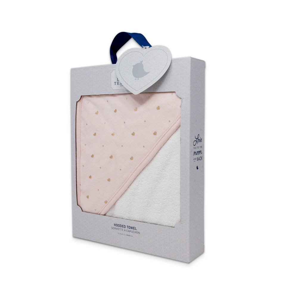 Image of Living Textiles Baby Hooded Towel - Pink Gold Heart
