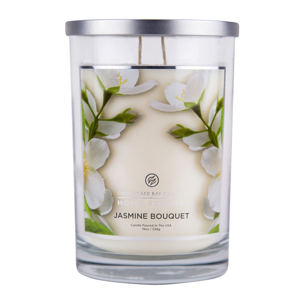 Image of 19oz Glass Jar Candle Jasmine Bouquet - Home Scents By Chesapeake Bay Candle