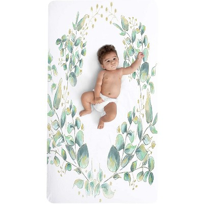 """JumpOff Jo Fitted Crib Sheet, Cotton Crib Sheet for Standard Sized Crib Mattresses, Hypoallergenic and Breathable, 28"""" x 52"""", Botanical Natural Leaf"""