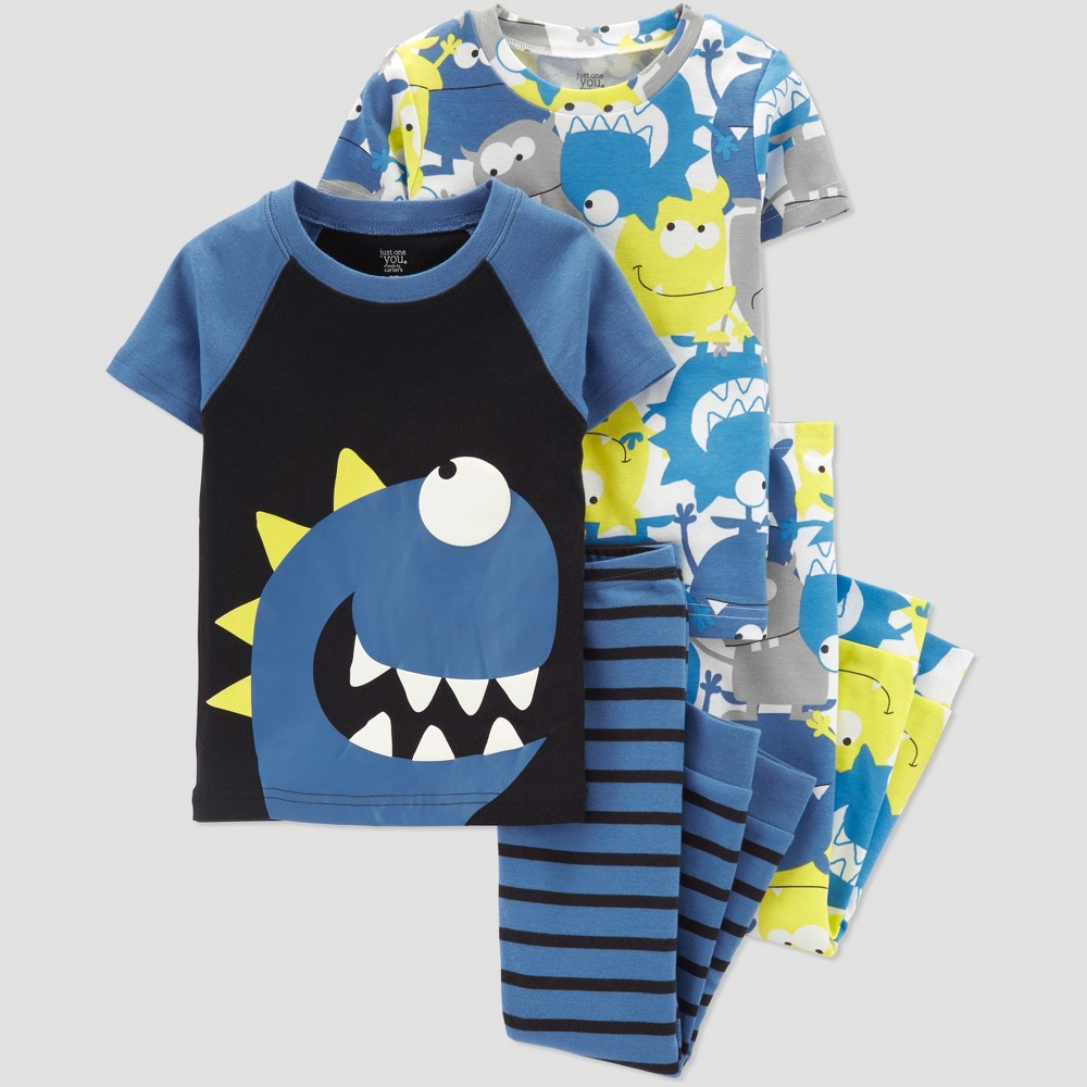 Baby Boys' 4pc Monster Short Sleeve Pajama Set - Just One You made by carter's Blue 12M