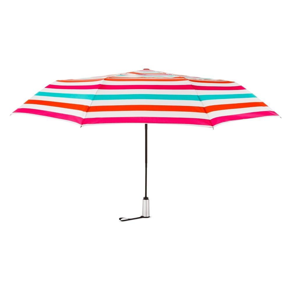 ShedRain Auto Open/Close Air Vent Compact Umbrella - Pink Stripe
