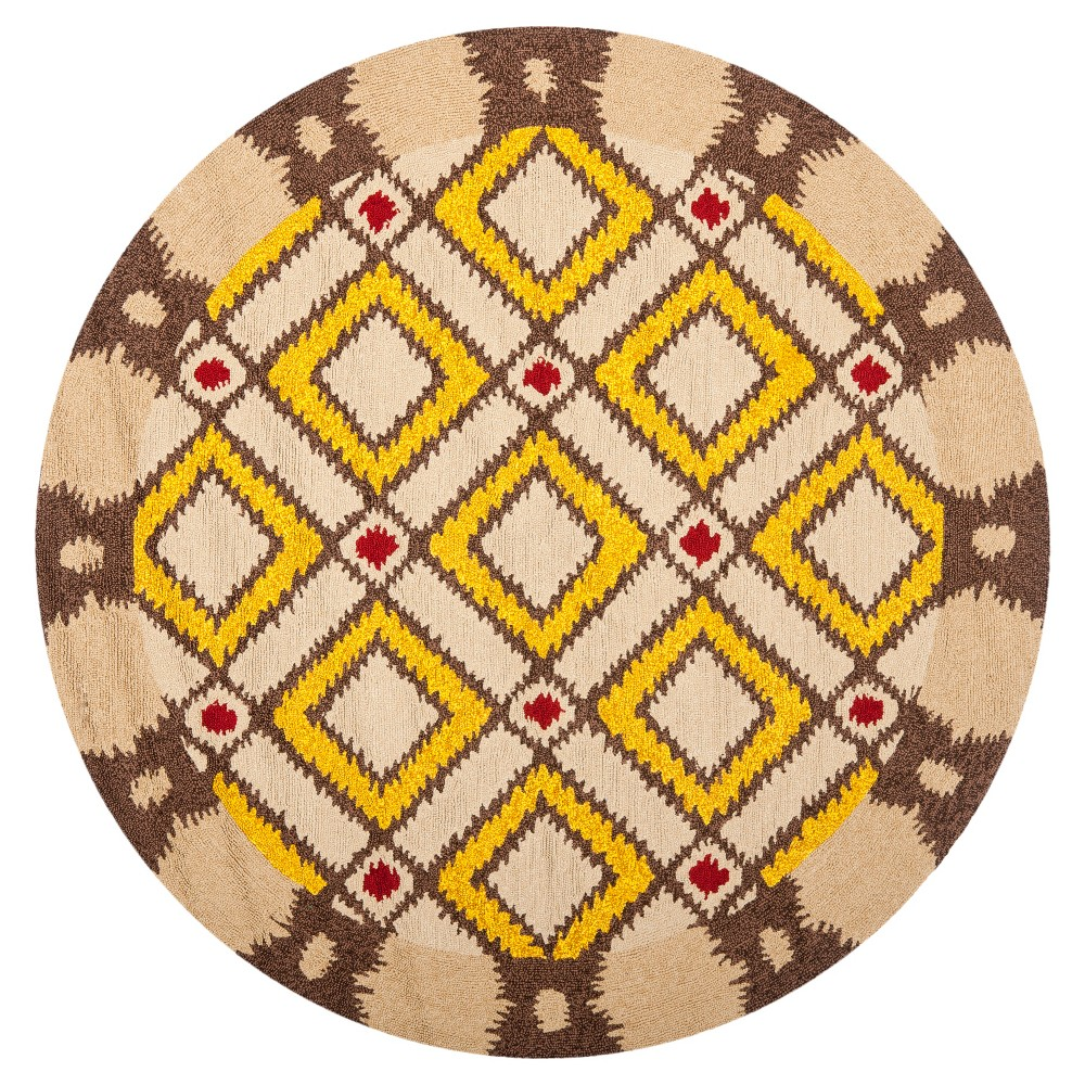 Beige/Yellow Abstract Hooked Round Area Rug - (6') - Safavieh