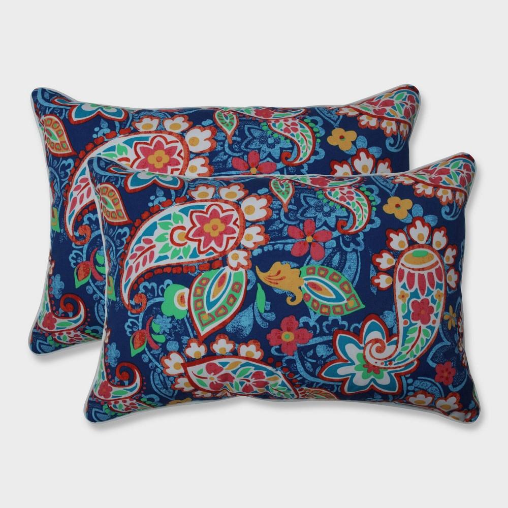 2pk Oversize Paisley Party Rectangular Throw Pillows Blue - Pillow Perfect