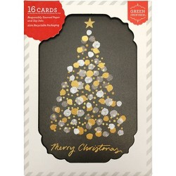 16ct Gold Lights Tree Holiday Boxed Greeting Cards
