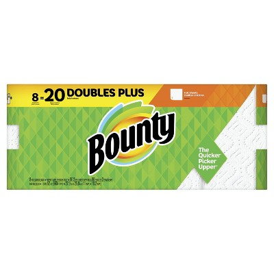 Bounty Paper Towels, White - 8 Doubles Plus Rolls - 20 Regular Rolls