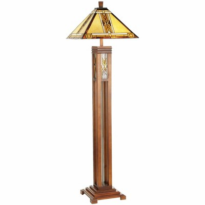 Robert Louis Tiffany Mission Floor Lamp with Nightlight Walnut Wood Column Stained Glass Shade for Living Room Reading Bedroom