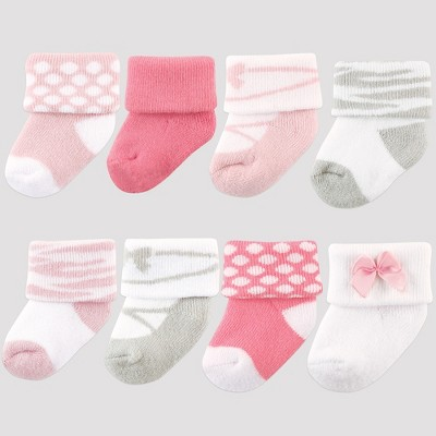 Luvable Friends Baby Girls' 8pk Socks, Ballet - Pink 0-6M