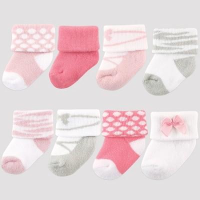 Luvable Friends Baby Girls' 8pk Socks, Ballet - Pink 0-6M