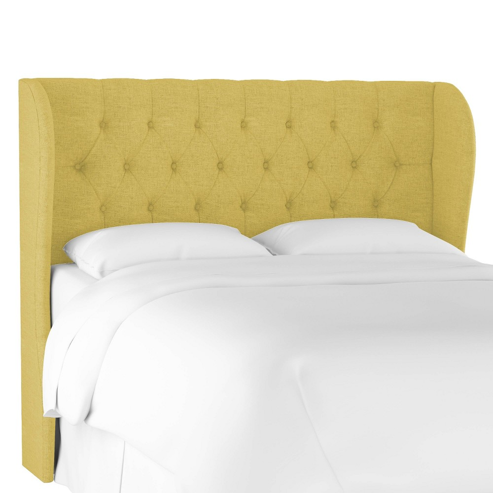 King Tufted Wingback Headboard Golden Yellow Linen - Threshold