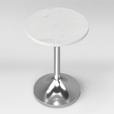 Delicieux Toulon Marble Top Pedestal Accent Table White/Silver Assembly Required    Project 62™ : Target