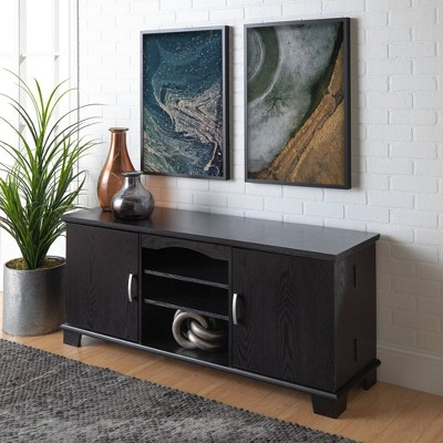 "Modern Media Storage Doors TV Stand for TVs up to 65"" Black - Saracina Home"