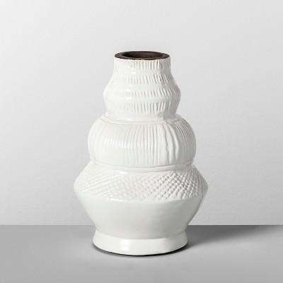 9  x 6.2  Etched Terra Cotta Vase White - Opalhouse™
