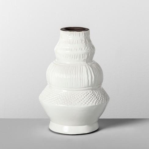 "9"" x 6.2"" Etched Terra Cotta Vase White - Opalhouse™ - image 1 of 4"