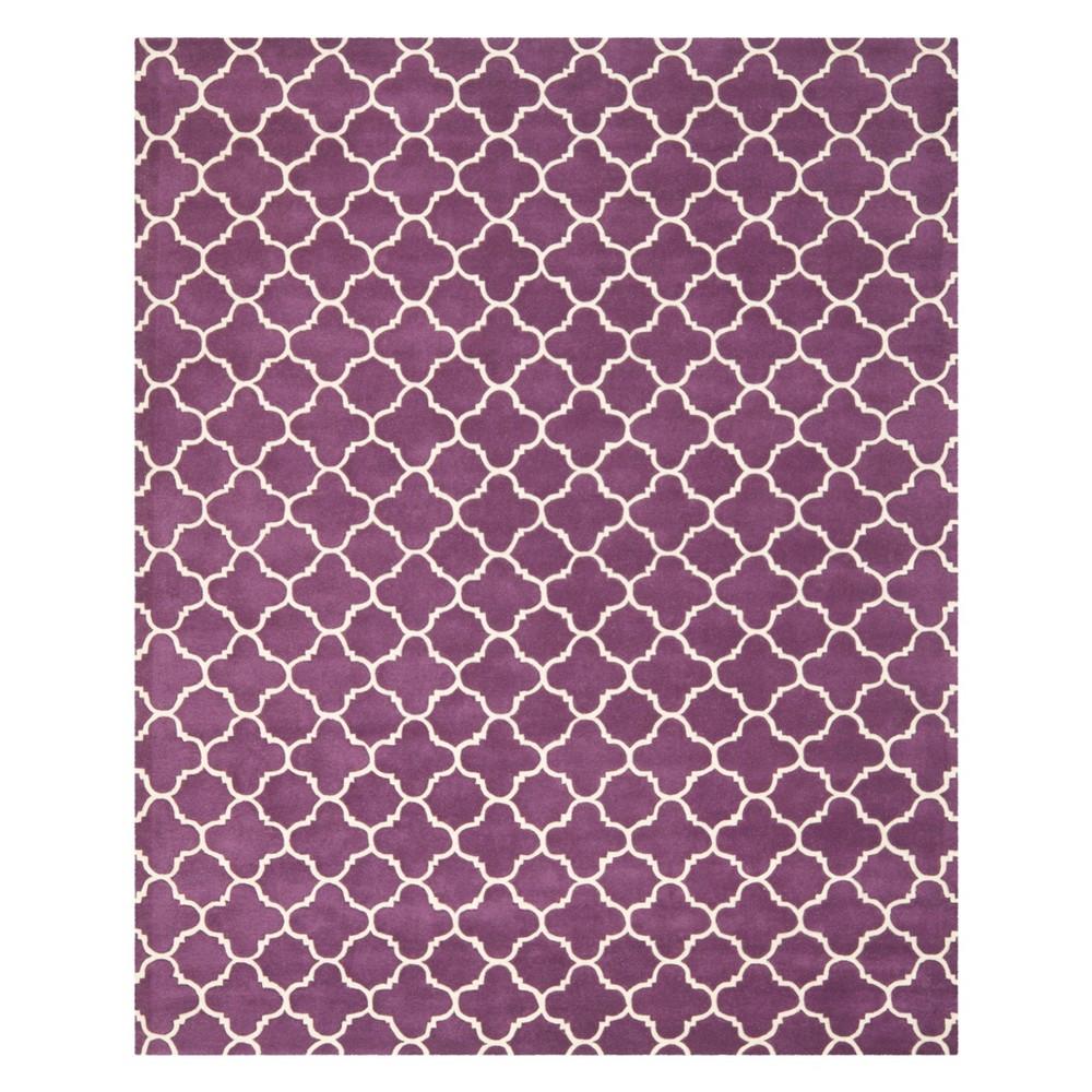 10'X14' Quatrefoil Design Tufted Area Rug Purple/Ivory - Safavieh