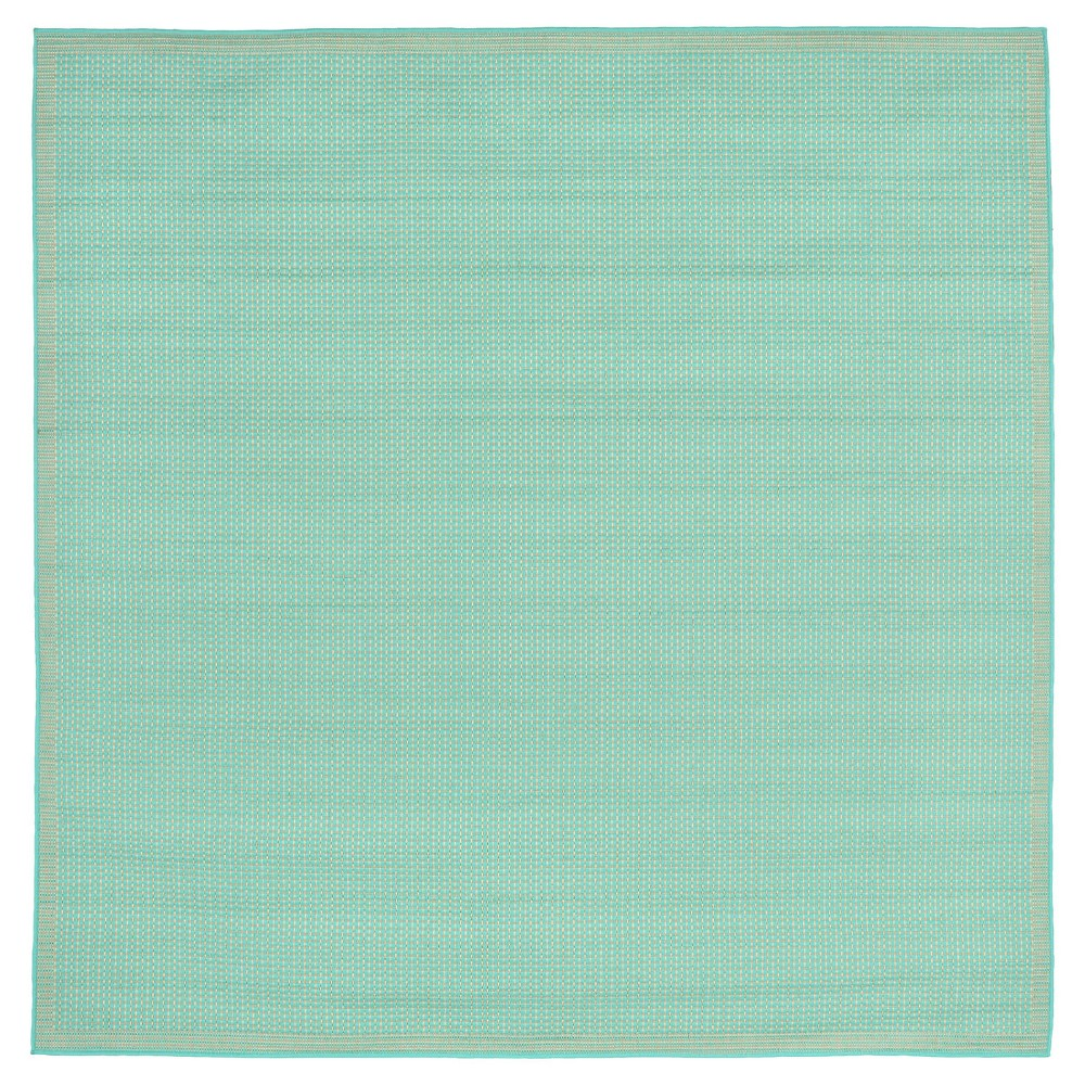 Terrace Indoor/Outdoor Texture Turquoise Square Rug 7'10 Blue - Liora Manne