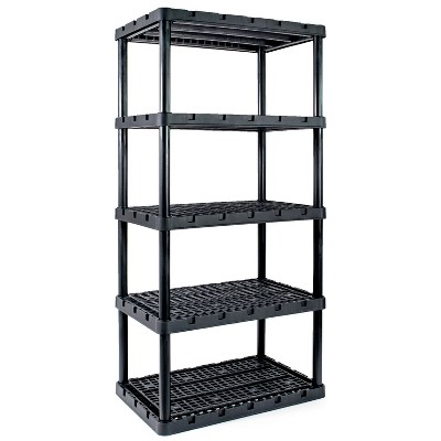 Gracious Living 91084-1C 24x36x72 Inch Knect A Shelf Fixed Height Heavy Duty Interlocking Ventilated Home, Garage Storage 5 Tier Shelving Unit, Black
