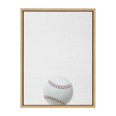 "18"" x 24"" Sylvie Color Baseball PortraitFramed Canvas Natural - DesignOvation"