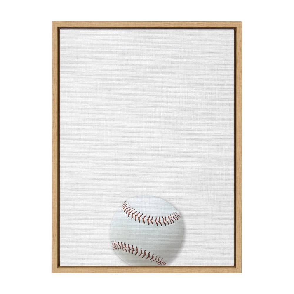 "Image of ""18"""" x 24"""" Sylvie Baseball Portrait On Linen Art Framed Canvas Wall Decor - DesignOvation"""