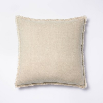 Square Linen Throw Pillow with Contrast Frayed Edges Neutral/Cream - Threshold™ designed with Studio McGee
