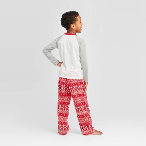 """Kids' Holiday """"Lil"""" Bear Pajama Set - Wondershop™ Gray/Red/White - image 1 of 3"""