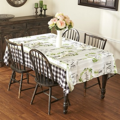Lakeside Live Simply Country Accent Tablecloth with Checkered Borders
