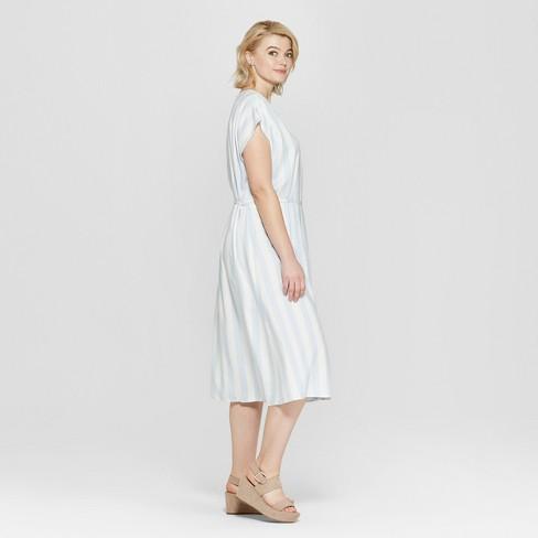 Women\'s Plus Size Striped Short Sleeve V-Neck Wrap Midi Dress - Ava ...