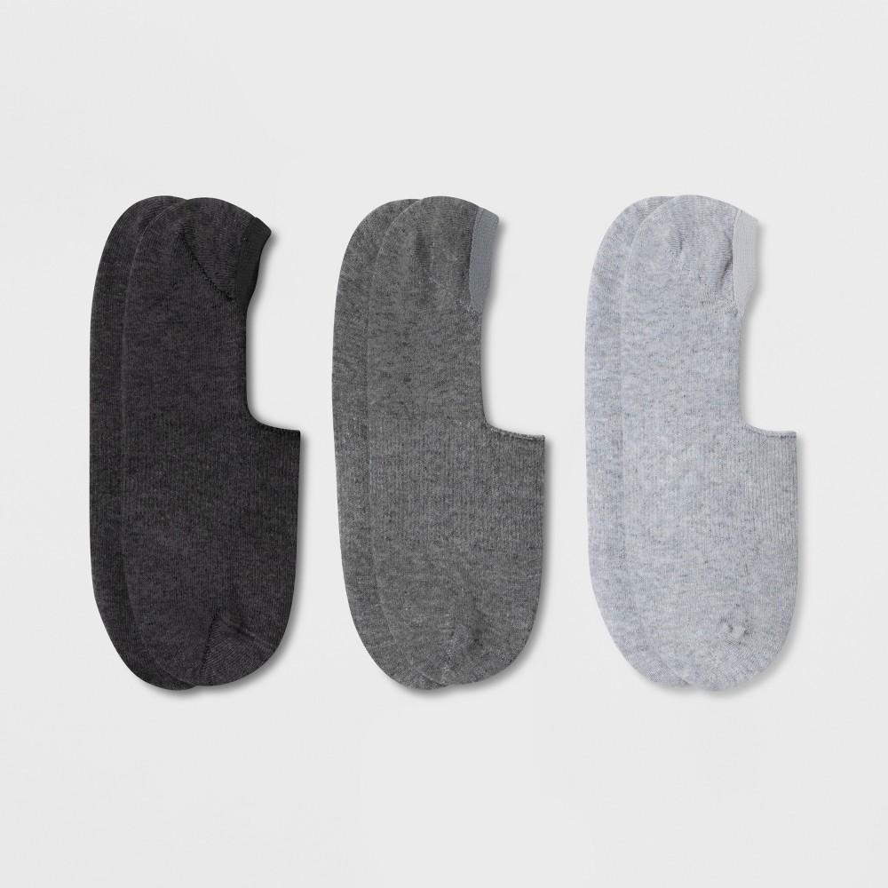 Men's 3pk Liner Socks - Goodfellow & Co Gray 6-12