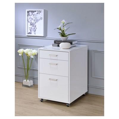 Beau 3 Drawer File Cabinet White Chrome   Acme Furniture