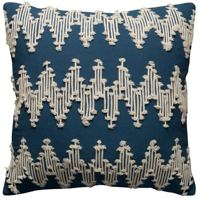 Frayed Chevron Throw Pillow Blue - Rizzy Home