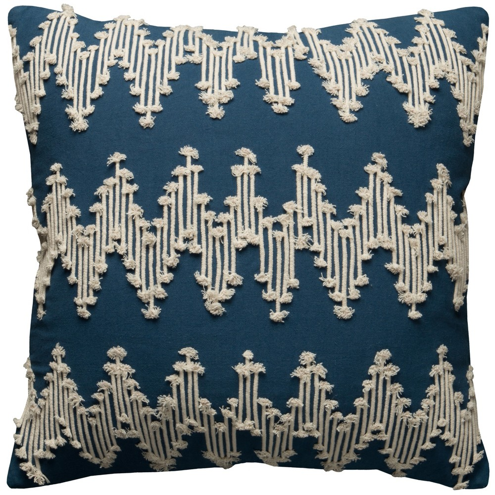 Image of Rizzy Home Frayed Chevron Throw Pillow Blue