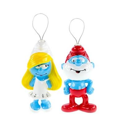 Smurfs Smurfette and Papa Smurf Tree Ornaments 2ct