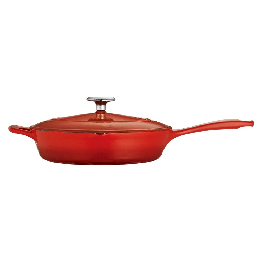 "Image of ""Tramontina 10"""" Cast Iron Covered Skillet - Red"""