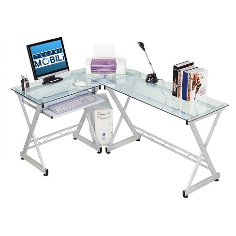 L Shaped Computer Desk Silver Clear Techni Mobili