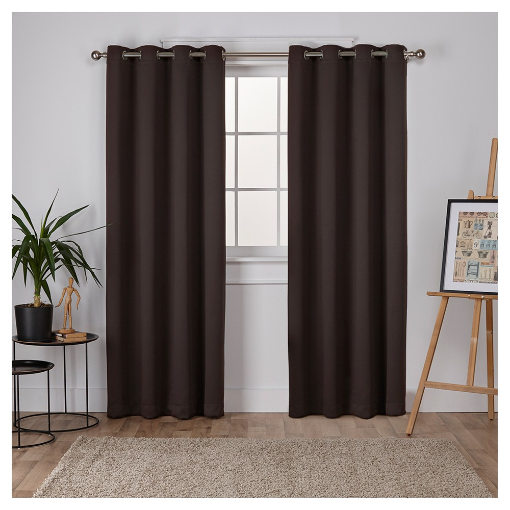 Set of 2 Sateen Twill Weave Insulated Blackout Grommet Top Window Curtain Panels Brown (52