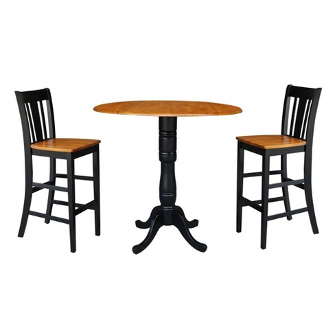 41 5 Round Pedestal Bar Height Table With 2 Stools Black Cherry International Concepts